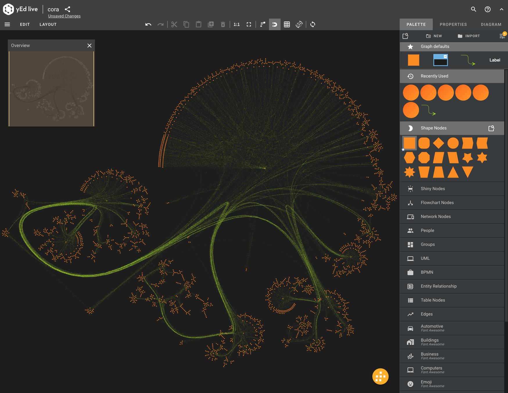Cora visualization using yEd Online